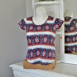 Lucky Brand Boho Print Scoop Neck Fitted Tee